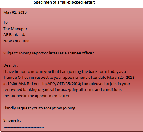 Format of a business letter full-blocked letter