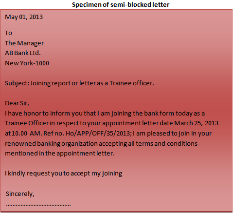 Format of a business letter semi-blocked letter