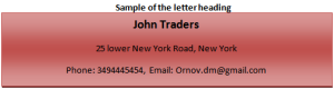Sample of the letter heading