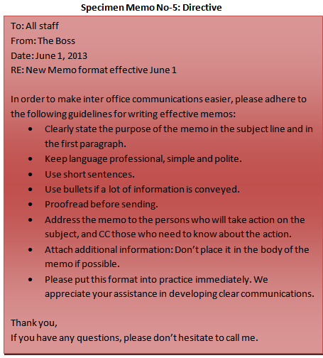 different parts of a business memo sample memo