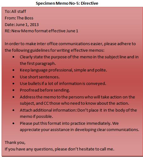 Specimen Directive Memo No 5