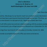 Sample a circular letter announcing opening a New Branch