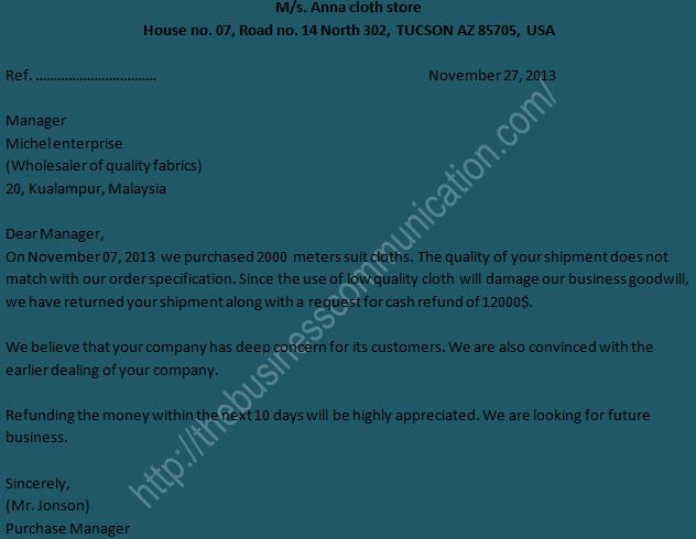 Sample of claim letter