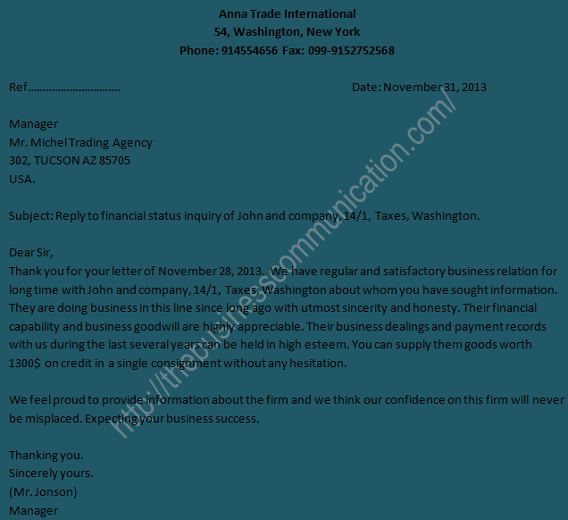 Sample of reply letter to business status inquiry letter