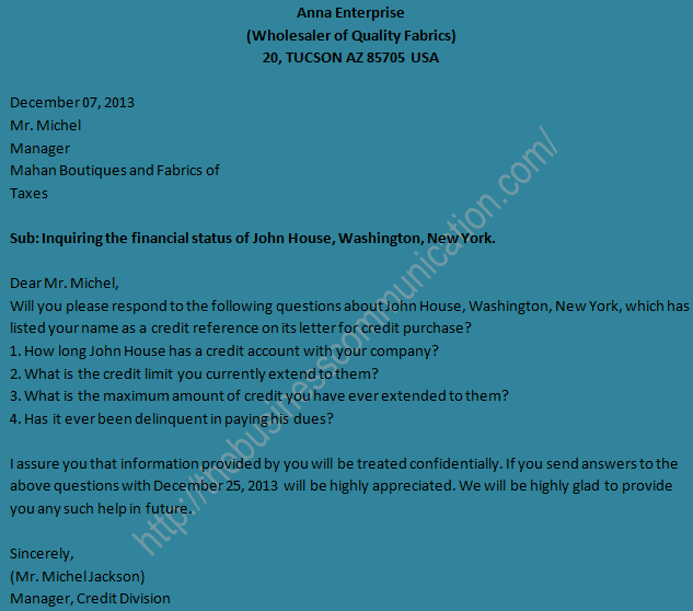Sample of business status inquiry letter spiritdancerdesigns Choice Image