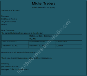 Sending statement of account-Sample of collection letter