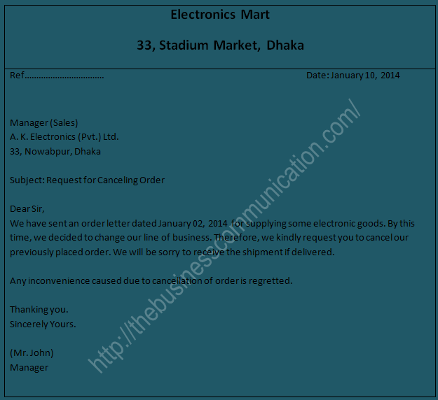 What is order cancellation letter-Specimen of order cancellation letter