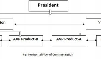 In the above diagram, the arrows in horizontal lines depict horizontal communication. In conclusion, we can say that horizontal communication is the exchange of information among the people holding the same position, rank and status in the organization hierarchy.